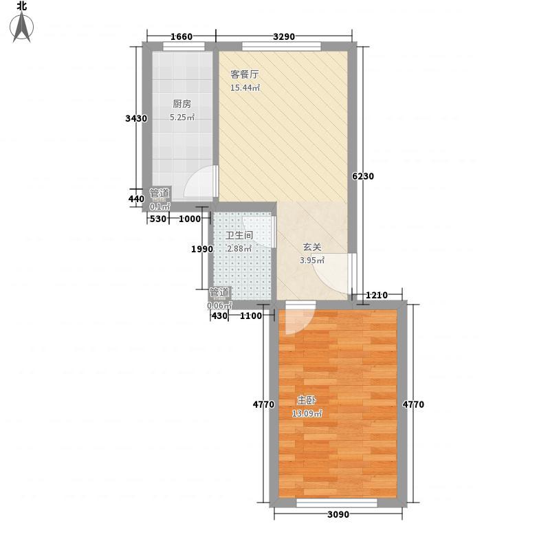 塞纳香堤户型1室2厅1卫1厨