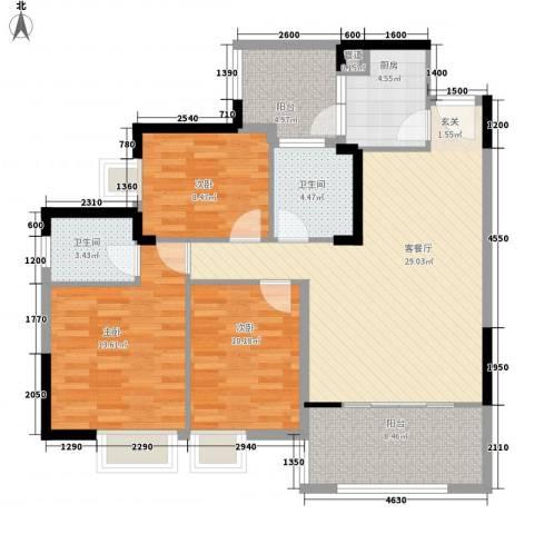 金阳新世界花园3室1厅2卫1厨124.00㎡户型图