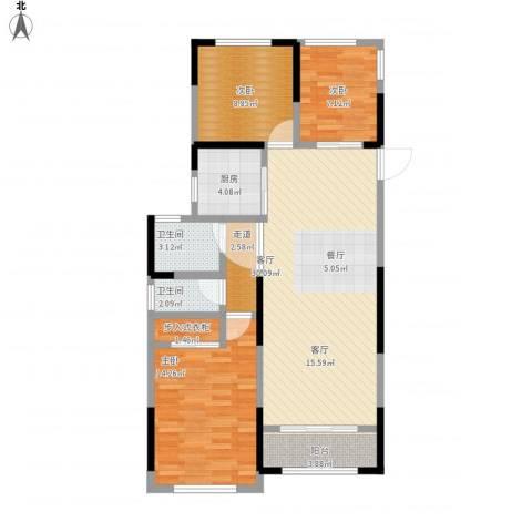 雅戈尔新东城3室1厅2卫1厨111.00㎡户型图