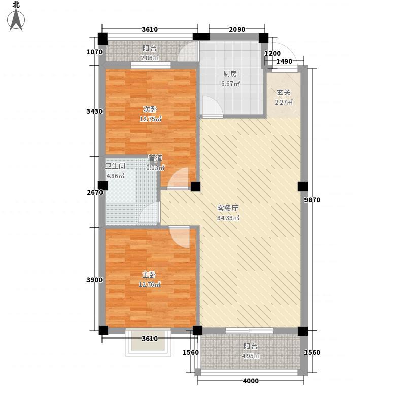 天兴丽江98.09㎡天兴丽江户型图2期2号楼标准层B户型2室2厅1卫户型2室2厅1卫
