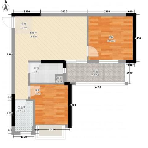 派2室1厅1卫1厨48.89㎡户型图