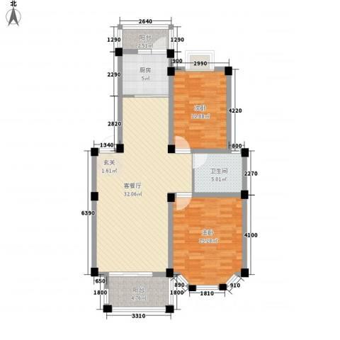 盛世莲花2室1厅1卫1厨90.00㎡户型图