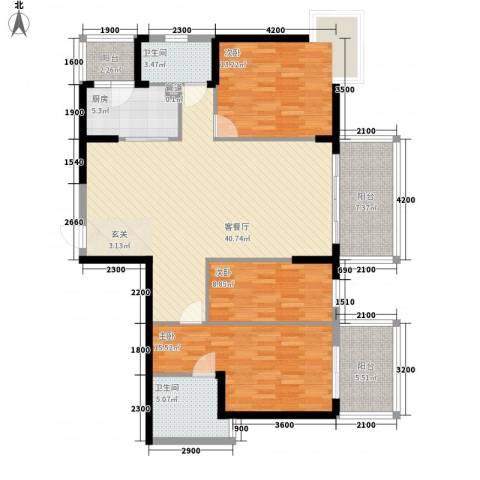 世纪铂爵3室1厅2卫1厨107.40㎡户型图