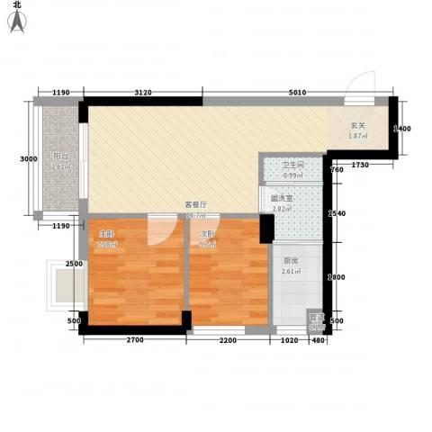 世纪铂爵2室2厅1卫1厨56.00㎡户型图