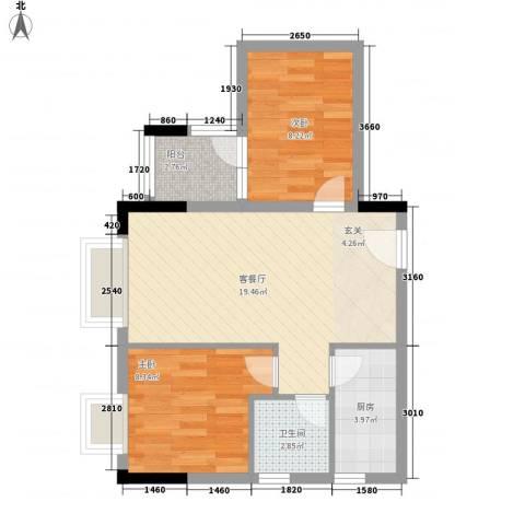 君华上域2室1厅1卫1厨67.00㎡户型图