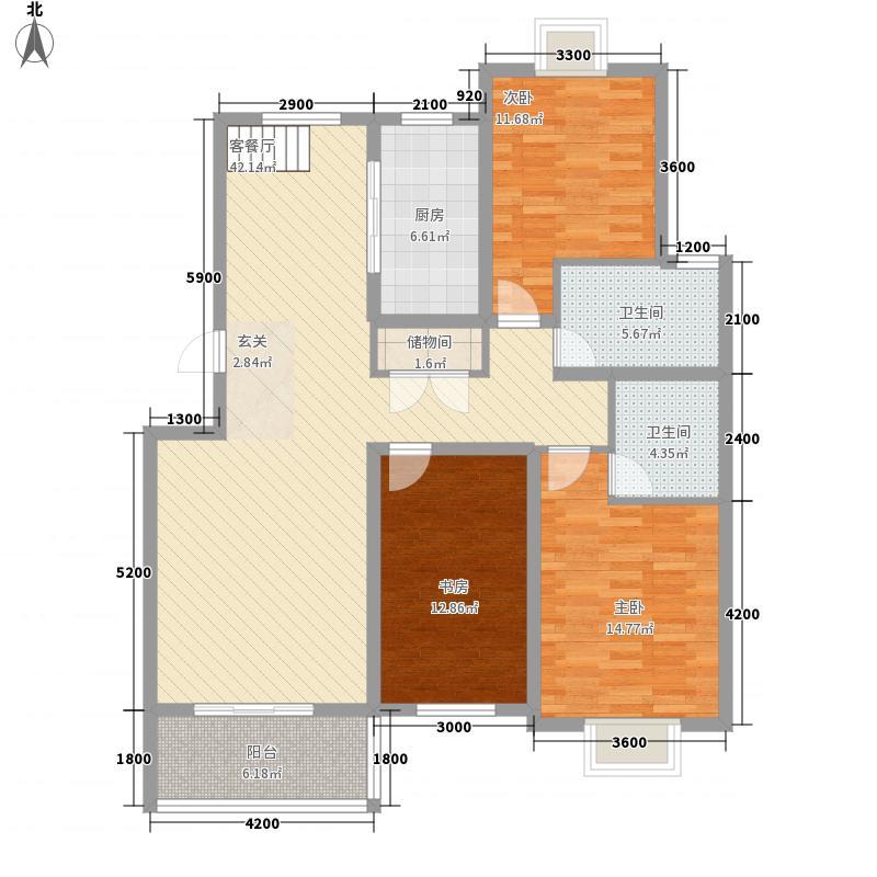 凯旋新城嘉苑137.80㎡13、17#楼G2一层户型3室2厅2卫1厨