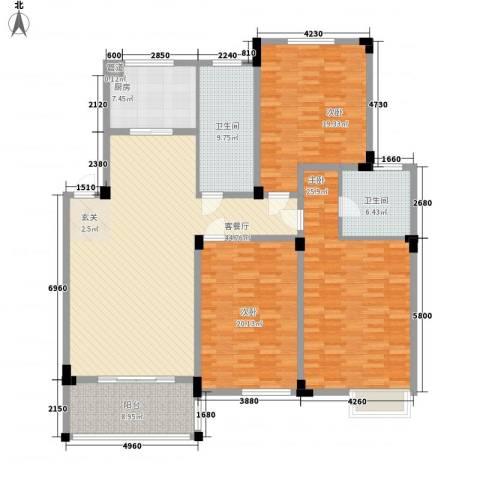 城市枫景3室1厅2卫1厨201.00㎡户型图