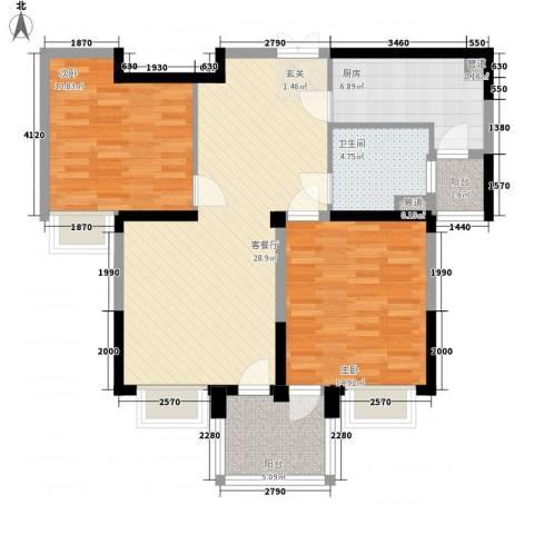 城市枫景2室1厅1卫1厨108.00㎡户型图