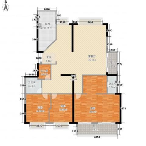 蔚蓝国际3室1厅2卫1厨252.00㎡户型图