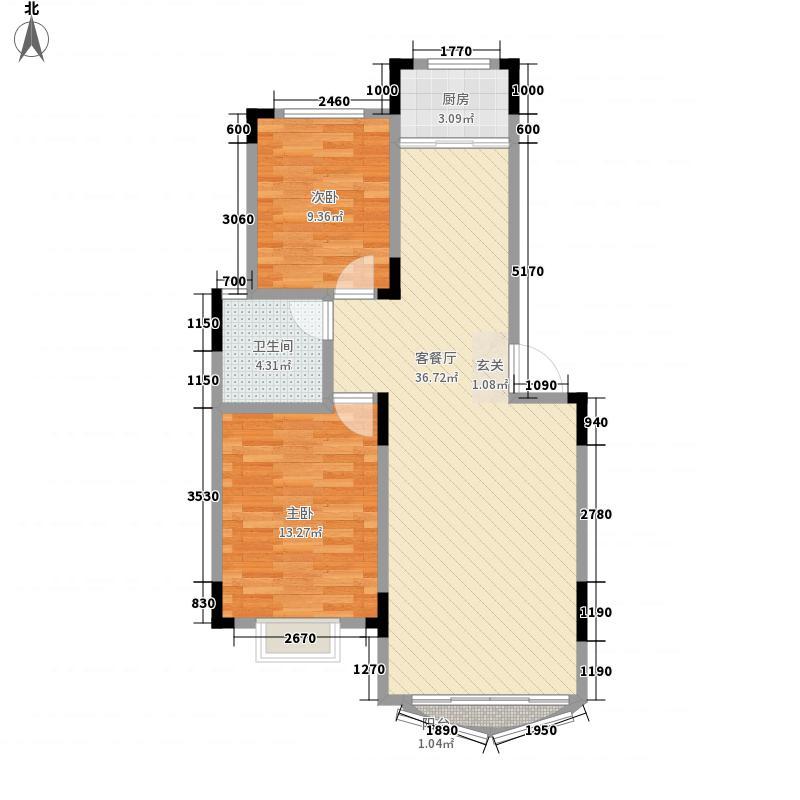 海风花园82.00㎡户型2室2厅1卫1厨