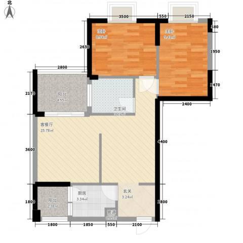 世纪铂爵2室1厅1卫1厨58.69㎡户型图
