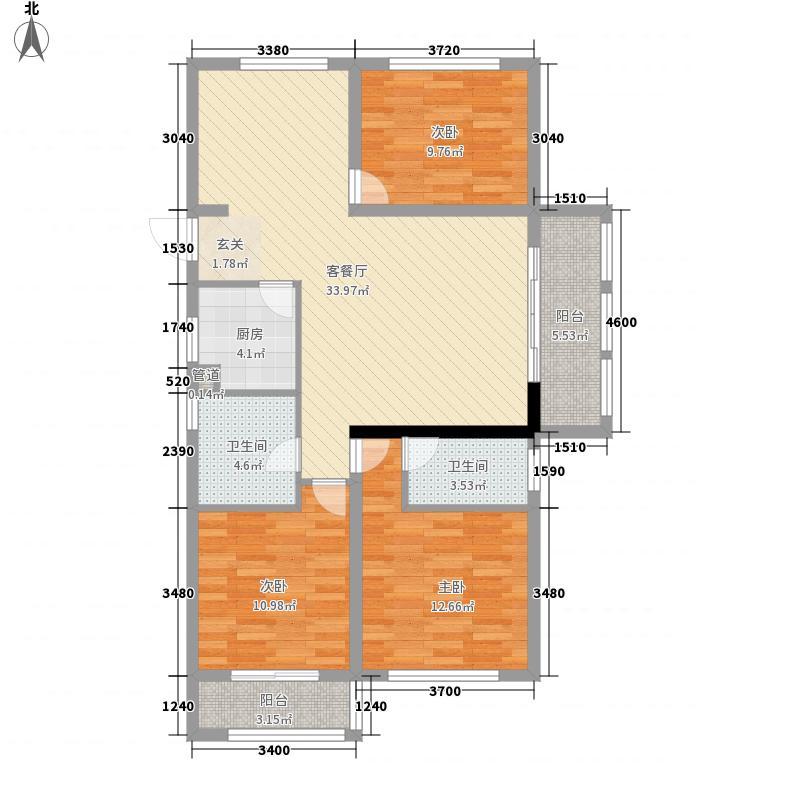 展恒怡和国际广场126.67㎡15号楼A户型3室2厅2卫1厨