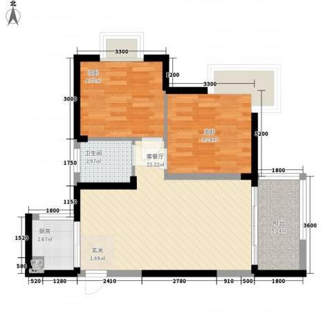 世纪铂爵2室1厅1卫1厨51.18㎡户型图