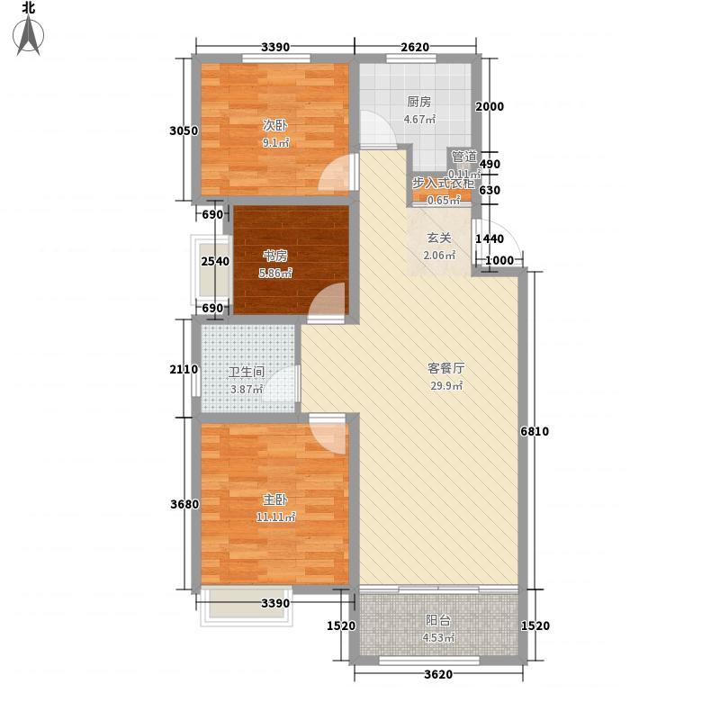 海信天山郡15.82㎡b户型3室2厅1卫1厨
