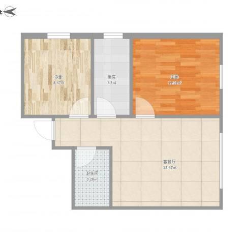府和苑2室1厅1卫1厨62.00㎡户型图
