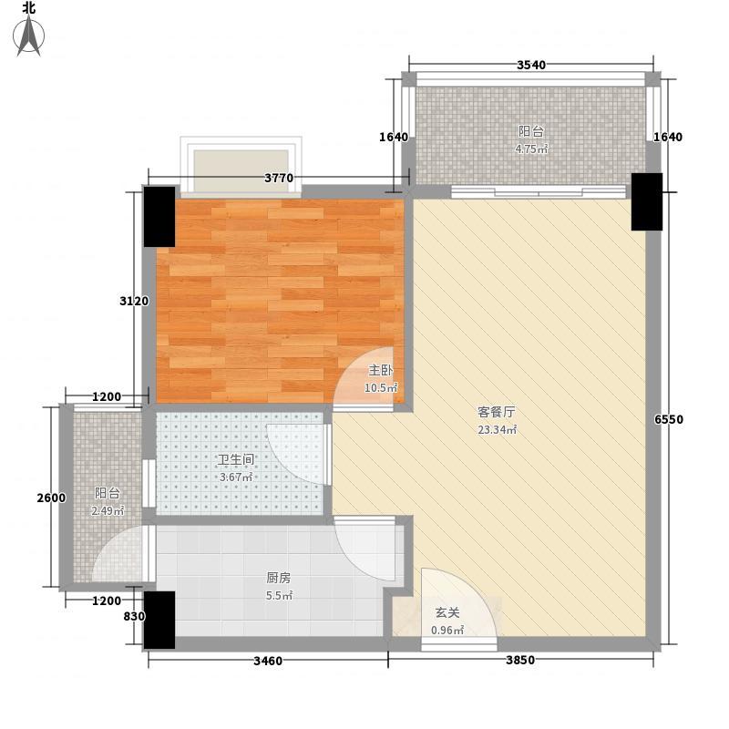 景湖湾畔 1室1厅户型图