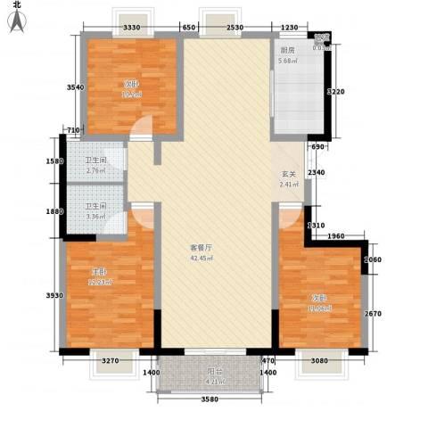 世纪康城3室1厅2卫1厨131.00㎡户型图
