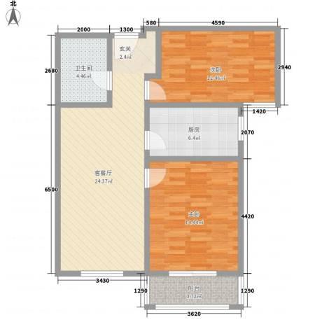 五龙花园2室1厅1卫1厨93.00㎡户型图