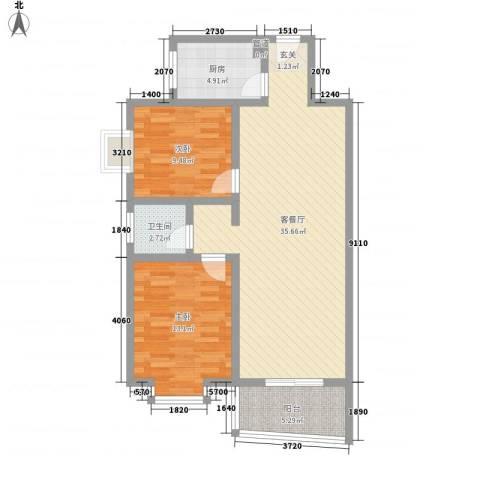 联大凯旋居2室1厅1卫1厨100.00㎡户型图