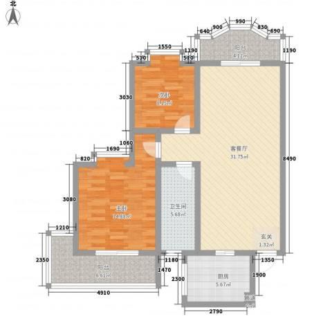 联大凯旋居2室1厅1卫1厨112.00㎡户型图