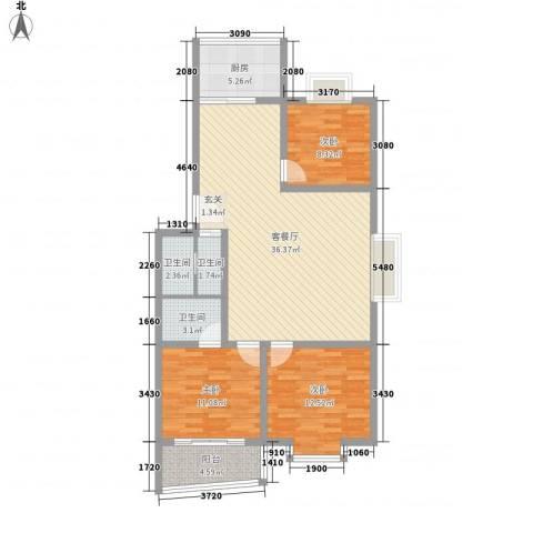 鼎舜赵苑3室1厅3卫1厨121.00㎡户型图
