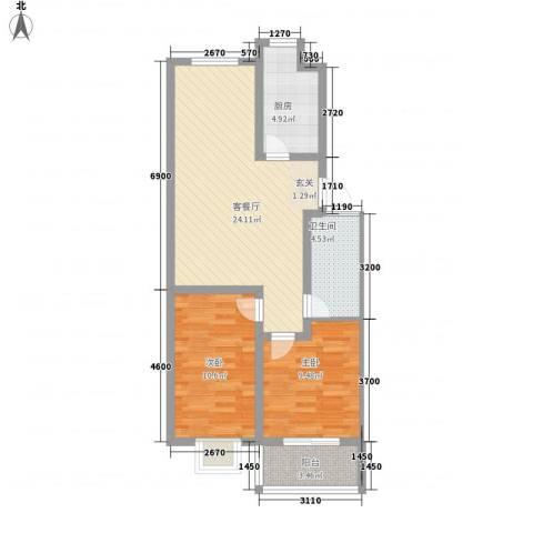 怡祥苑2室1厅1卫1厨83.00㎡户型图