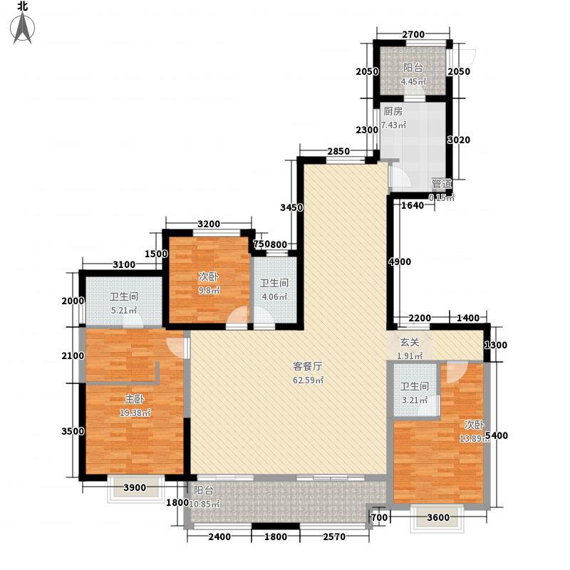 保利拉菲公馆朗菲园3室1厅3卫1厨141.02㎡户型图