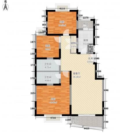 西铁小区3室1厅2卫1厨144.00㎡户型图