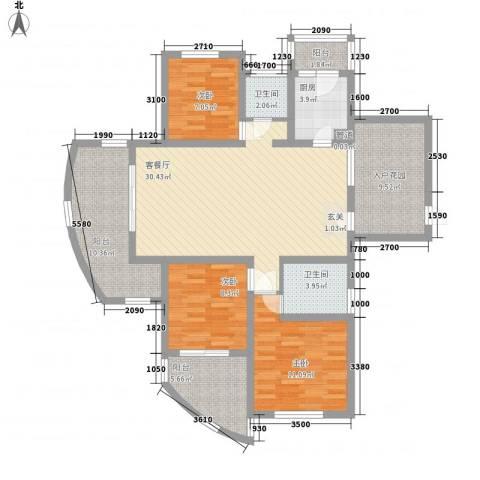 东方今典3室1厅2卫1厨138.00㎡户型图