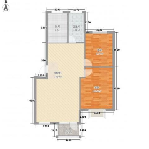 鑫馨佳园2室1厅1卫1厨92.00㎡户型图