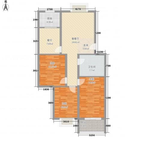 黄泥坝村3室2厅1卫1厨121.00㎡户型图