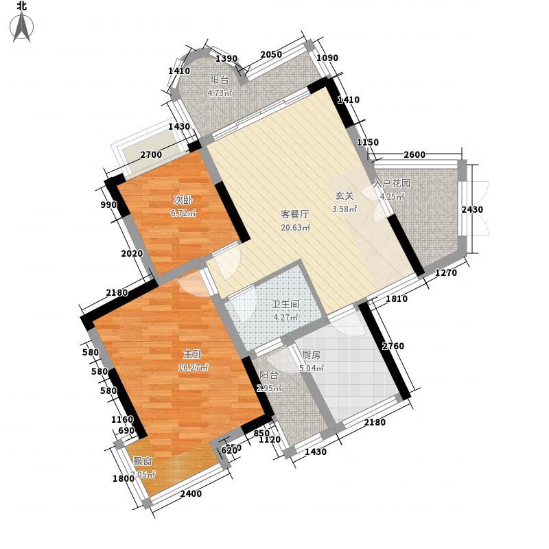 群星新�86.63㎡3号楼N1户型2室2厅1卫1厨