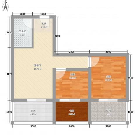 巧克力公寓3室1厅1卫1厨49.56㎡户型图