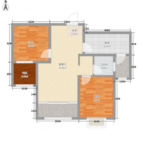 意林小镇3室1厅1卫1厨68.14㎡户型图