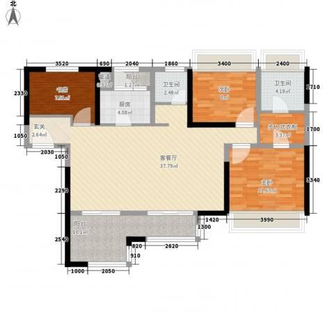 禅城绿地中心3室1厅2卫1厨131.00㎡户型图