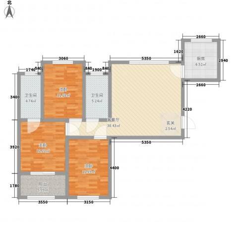 泉府公馆3室1厅2卫1厨101.00㎡户型图