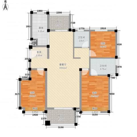 天泰华府3室1厅2卫1厨121.00㎡户型图