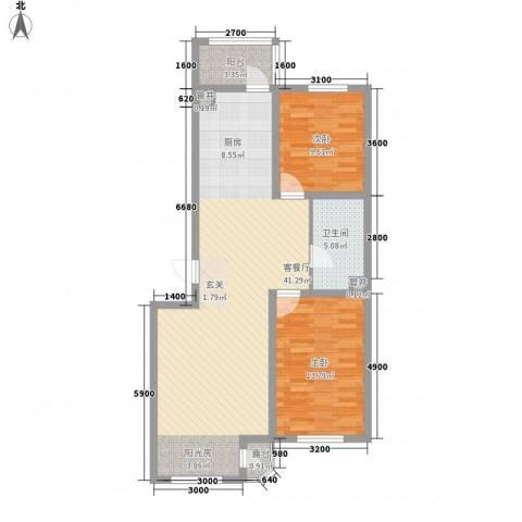 亚泰国际花园2室1厅1卫0厨74.34㎡户型图