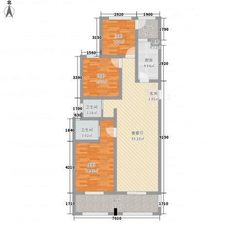 奥林清华御园3室1厅2卫1厨129.00㎡户型图