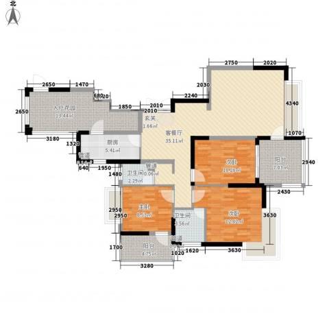 大唐世纪豪庭3室1厅2卫1厨148.00㎡户型图