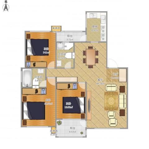 东城郡3室1厅2卫1厨169.00㎡户型图