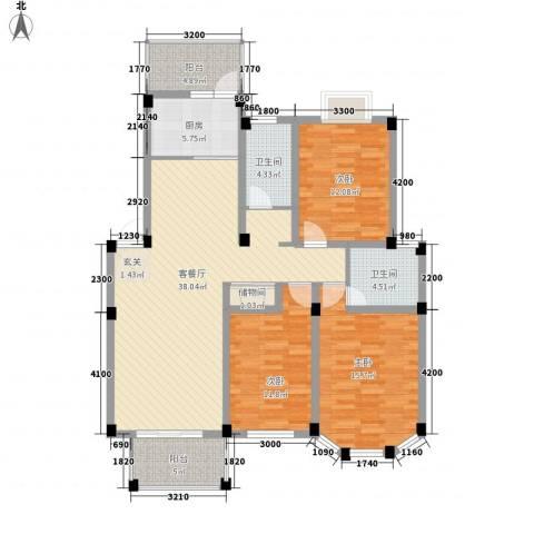 盛世莲花3室1厅2卫1厨122.00㎡户型图