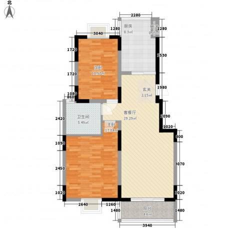 雍华府2室1厅1卫1厨110.00㎡户型图