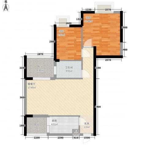 世纪铂爵2室1厅1卫1厨87.00㎡户型图