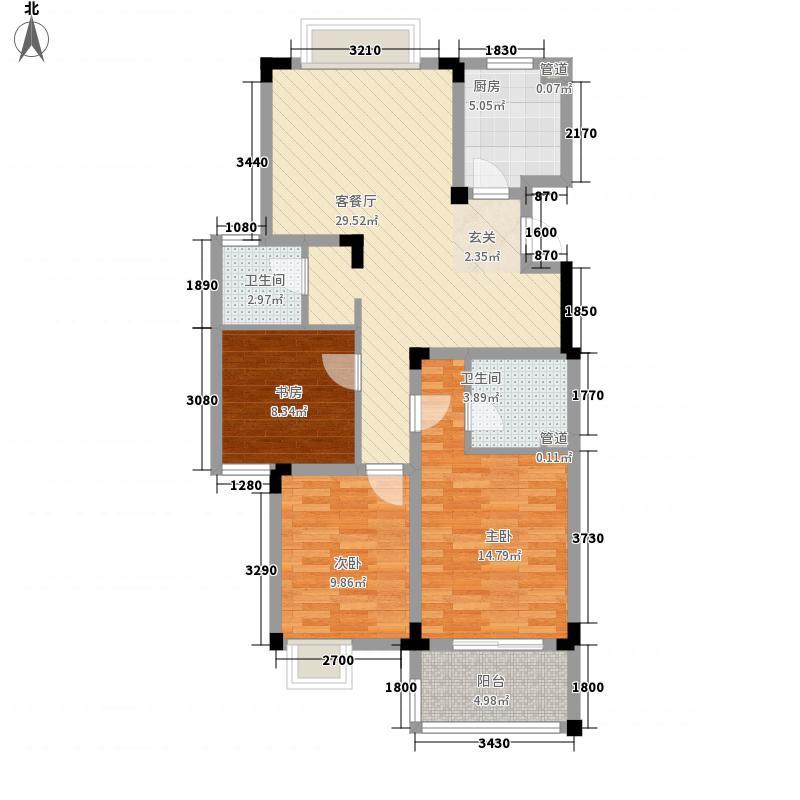 利泽西园户型2室2厅2卫1厨