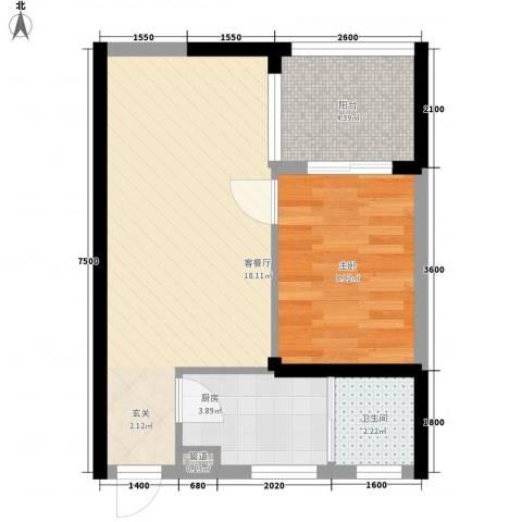 世纪铂爵1室1厅1卫1厨36.86㎡户型图