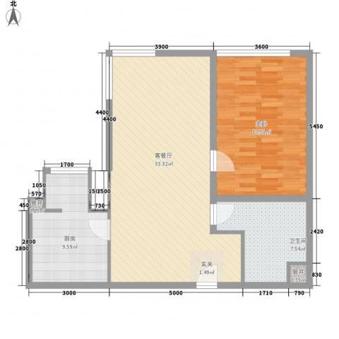 河畔花园1室1厅1卫1厨96.00㎡户型图