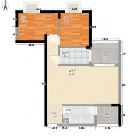 世纪铂爵2室1厅1卫1厨78.00㎡户型图
