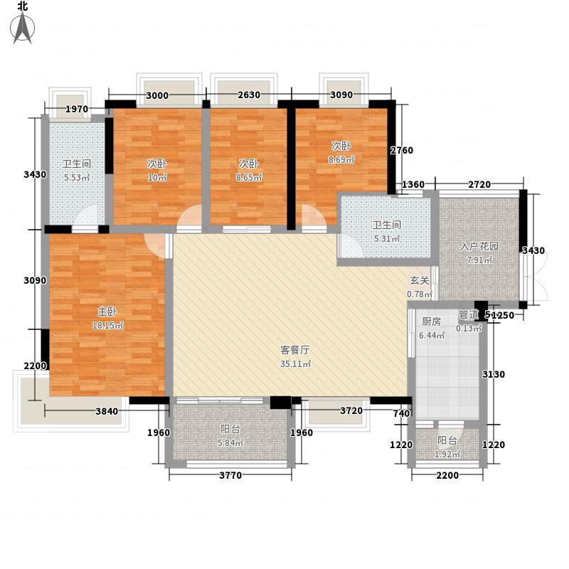 中惠�庭138.82㎡中惠�庭户型图20栋标准层01、02户型4室2厅2卫1厨户型4室2厅2卫1厨