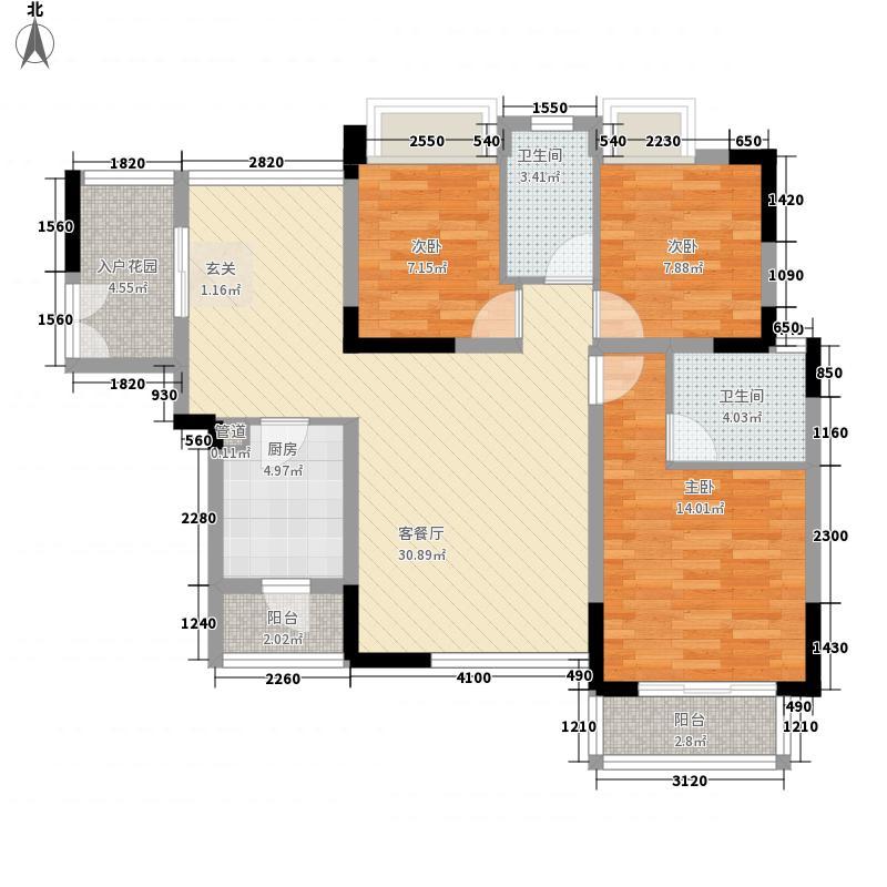 天一名居116.43㎡B-1户型3室2厅2卫1厨